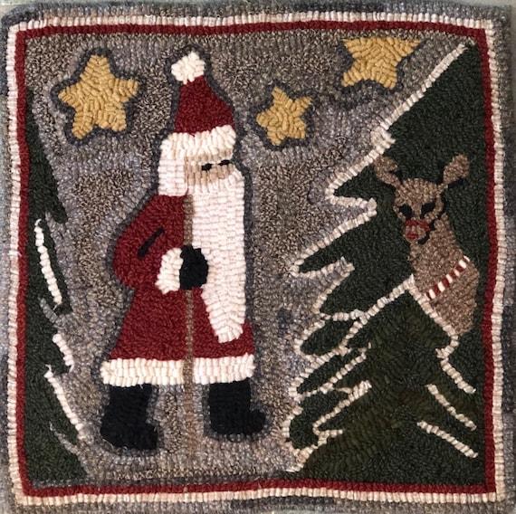 """Rug Hooking Pattern, Santa Hiker  15"""" x 15"""", P169"""
