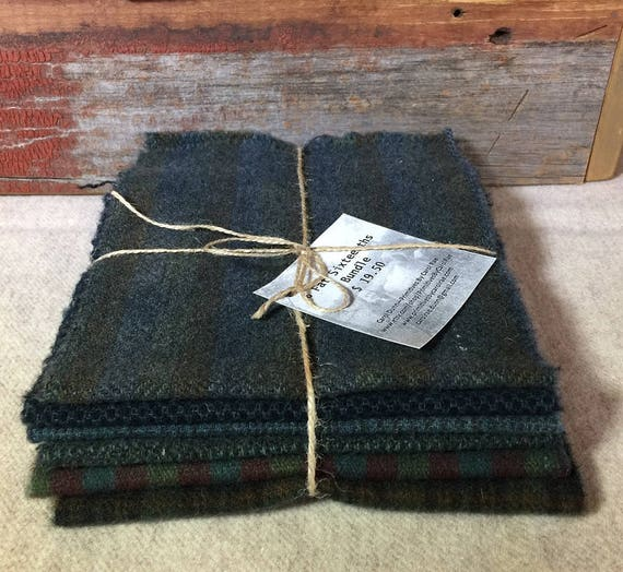 Midnight Skies, Dark Blue Green,Hand-Dyed Wool,Rug Hooking, Applique, Penny Rugs, Quilting,(6) One Sixteenth Yard Pieces W318