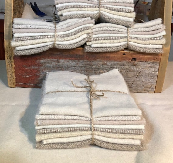 Antique Winter White Wool Bundle, Hand-dyed Wool for Rug Hooking, Applique, Penny Rugs, Quilting, eight 1/16 Yard Pieces W359