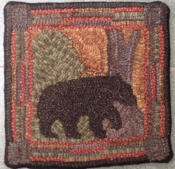 "Rug Hooking Pattern, Bear At Dawn      10"" x 10"", P132"