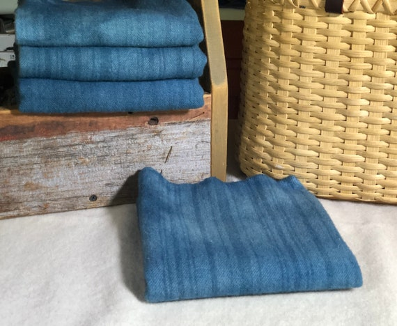 Larkspur Blue Stripe II, Hand-Dyed Wool Fabric for Rug Hooking, Applique, Penny Rugs, Fiber Arts,Fat Quarter Yard W469
