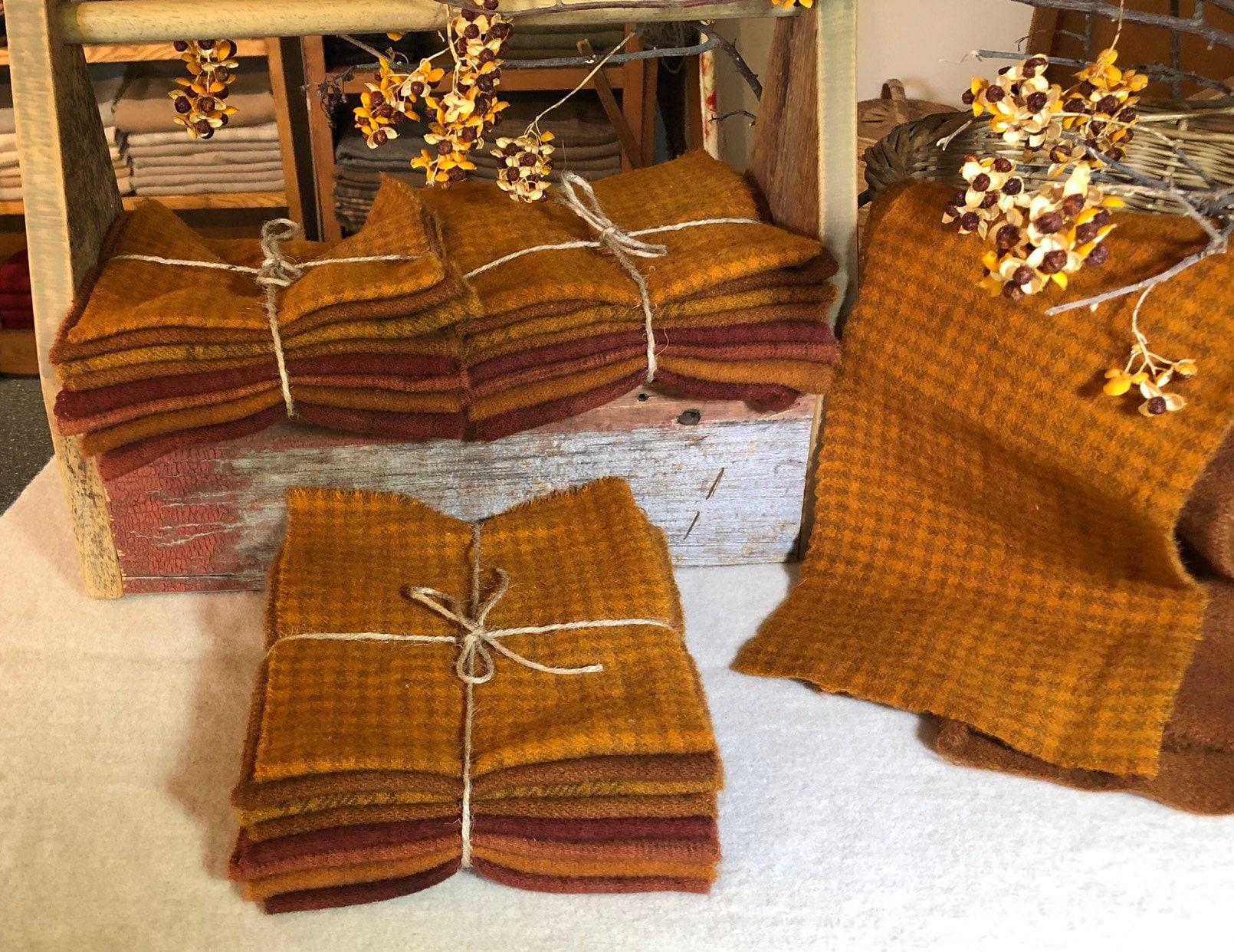 Autumn Leaves Wool Bundle Wool Fabric For Rug Hooking
