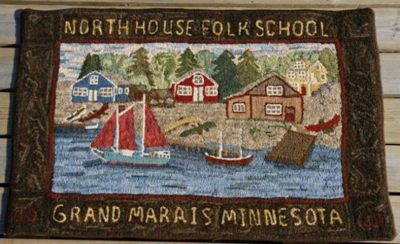 "Rug Hooking Pattern, ""North House Folk School"" , On Primitive Linen  28""x 44""  P126"