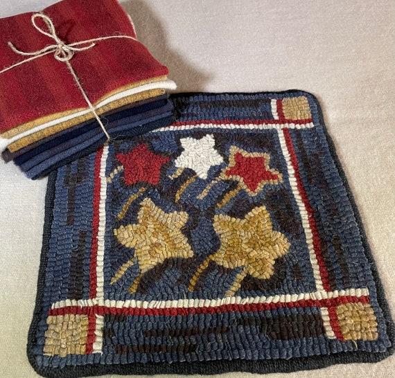 "Primtive Rug Hooking Kit , ""Celebration""  Patriotic Hooked Mat, 4th of July, Primitive Stars, Red White and Blue 12"" x 12"", K 151"