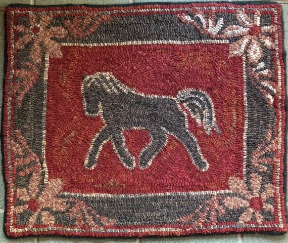 "Rug Hooking Pattern, Horse and Flowers, 18"" x 22"" P171"