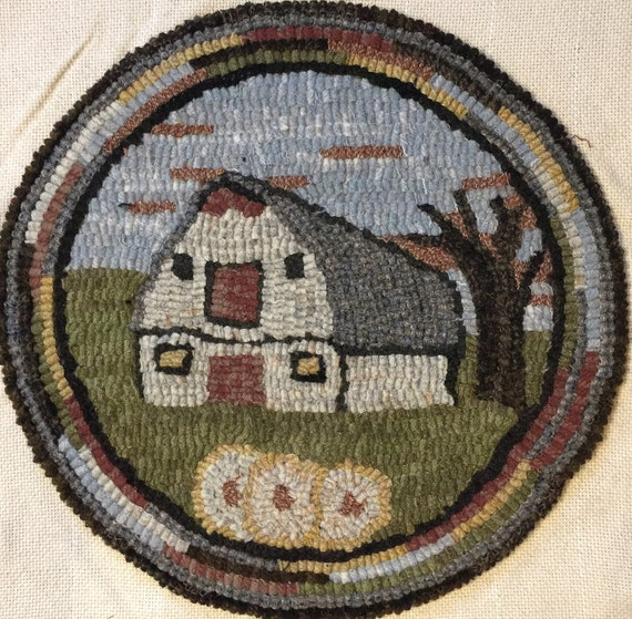 "Rug Hooking Pattern for ""Old Barn #2"" Chair Pad, on Monks Cloth or Primitive Linen, P136"