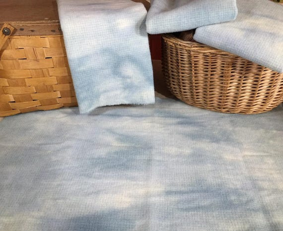 Host Sky Blue, Hand-Dyed Wool Fabric for Rug Hooking, Applique, Penny Rugs, Fiber Arts,Fat Quarter Yard W322