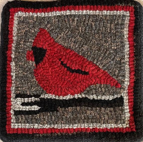 "Rug Hooking Pattern, Cardinal Mat, 8"" x 8""  P178"