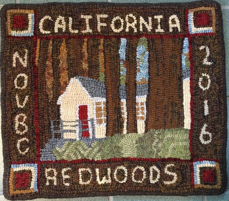 Rug Hooking Pattern Cabin in the Redwoods 16 x image 0