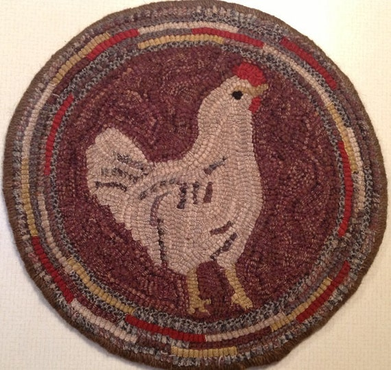 "Rug Hooking Pattern for ""Hetty"" Chair Pad, on Monks Cloth or Primitive Linen, P109"