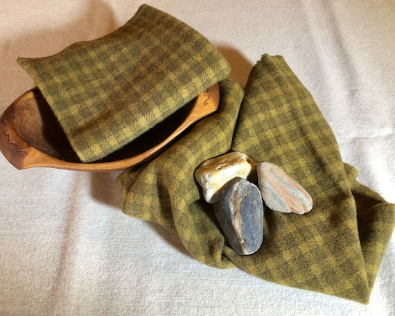 Golden Olive Plaid Check, Hand-dyed  100% Wool Fabric,  Rug Hooking, Applique, Penny Rugs, Quilting, Fiber Arts, Fat 1/4 Yard, W450