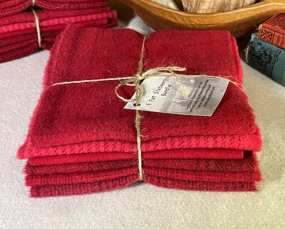 Crimson Rose Bundle, Hand-Dyed Wool for Rug Hooking, Applique, Penny Rugs, Quilting, 6 fat 1/16ths, Bright Red, Flower Garden Red  W385