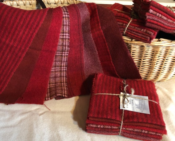Red  wool bundle, Hand-Dyed Wool for Rug Hooking, Applique, Penny Rugs, Quilting, 8 fat sixteenth Yard Pieces Valentine Red W385