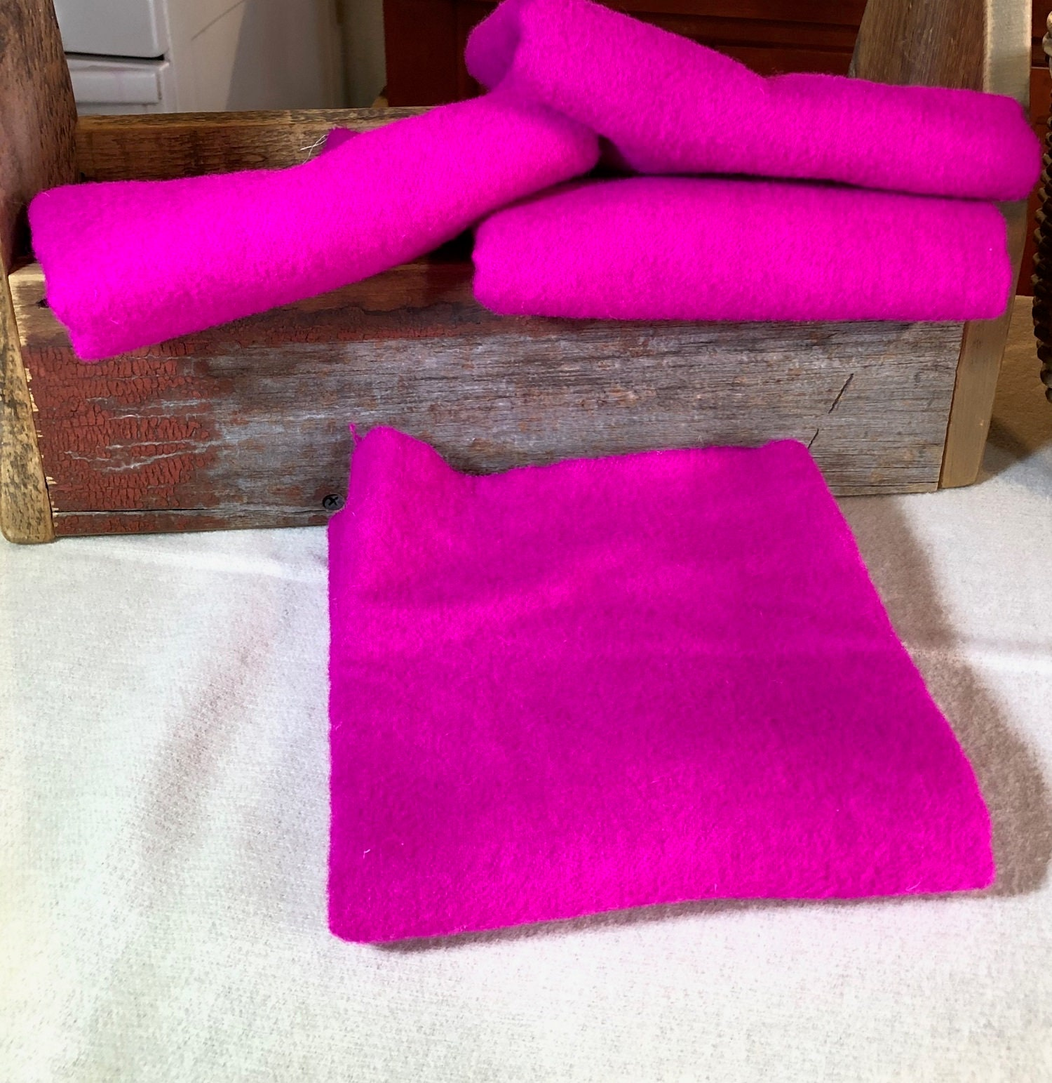 Bright Pink Handdyed Wool Fabric For Rug Hooking