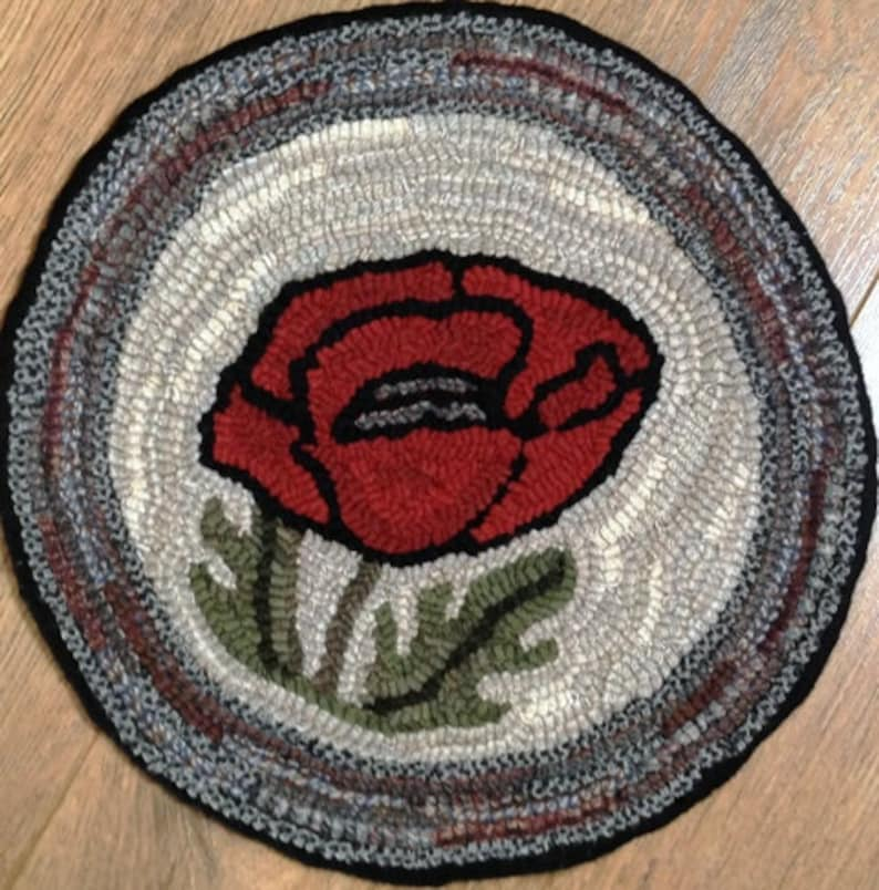 Rug Hooking Pattern for Poppy Chair Pad on Monks Cloth or image 0