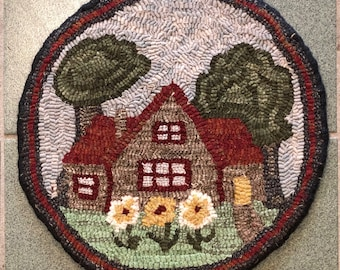 """Rug Hooking Pattern for """"Summer Cottage"""" Chair Pad, on Monks Cloth or Primitive Linen, P167"""