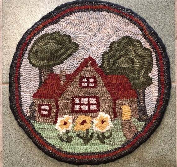 "Rug Hooking Pattern for ""Summer Cottage"" Chair Pad, on Monks Cloth or Primitive Linen, P167"