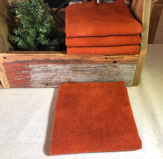 Terra Cotta Red, Reversible Hand Dyed Wool Fabric for Rug Hooking, Applique, Penny Rugs, Fiber Arts, Warm Coral Red, Fat Quarter Yard  W441