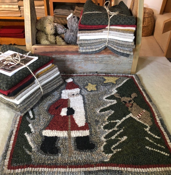 "Wool Pack for Santa Hiker Hooked Rug, 15"" x 15"" WP124"