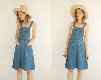 60s Denim Pinafore // Vintage Landlubber 70s Soft Denim Overalls Dress A Line Jean Onesie Bib Mini Groovy One Piece Pocket Smock Apron Dress