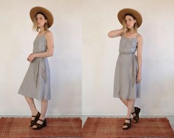 a01b94287 Mid Century Slip Dress    Vintage Dove Grey Feminine 50s 60s Slip Style Mid  Length Basic Midi Negligee Night Minimal Dress