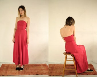 cecc919c8ed Mid Century Ruby Gown    Vintage 1950s Red Evening Dress Simple Feminine  Petite Strapless Bustier Romantic Prom Queen Flowing Maxi Dress