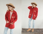 50s Varsity Jacket Vintage Mid Century Loggers Mid Length School Coat Wool Snap Button Bomber Athletic Mens Womens All Star Jacket
