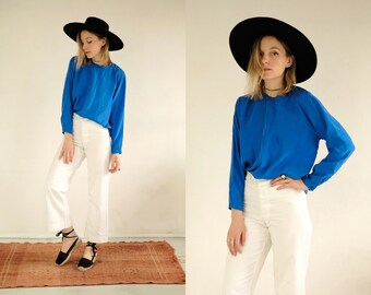 3288d9ad765c7 Cobalt Silk Blouse    Vintage Blue Oversize Silky Long Sleeve Flowing Cyan  Statement Light Blouse Shirt