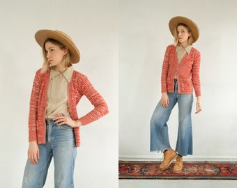 7ff1e5f404 70s Coral Knit Cardigan    Vintage Cozy Stripe Button Up Long Sleeve  Multicolour Red Orange Pink Blend Groovy Striped Retro Bohemian Sweater