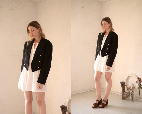 40s Crop Navy Coat  - image 3