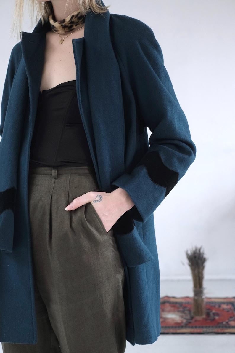 Teal Swing Coat  Vintage 1990s Does 1960s Aqua Wool Jacket Oversize Jewel Tone Green Feminine Mid Length Emerald Velvet Trim Overcoat