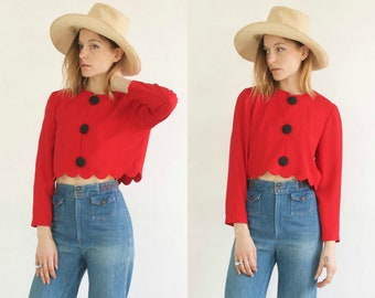 Crimson Crop Blouse // Vintage 90s Cropped Button Up Scallop Hem Cardigan Top Long Sleeve Button Up Statement Bold Red Blouse