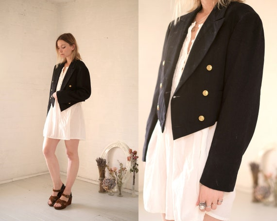 40s Crop Navy Coat  - image 4