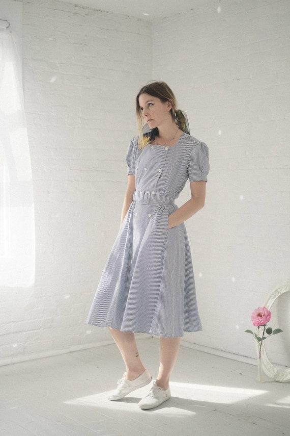 Seersucker Puff Sleeve Dress - image 4