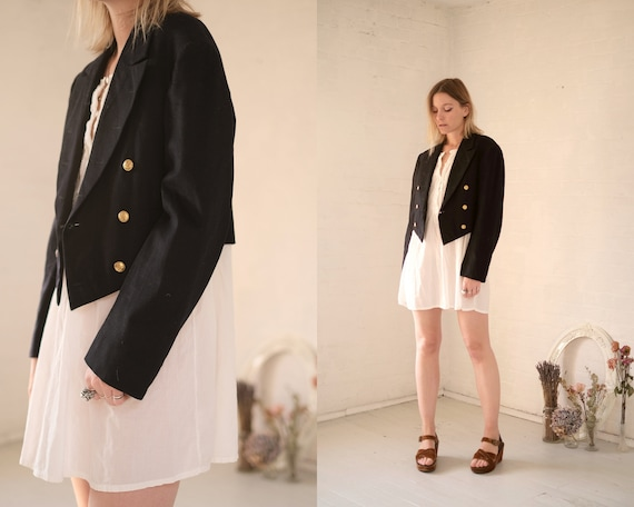 40s Crop Navy Coat  - image 1