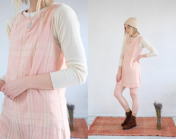 Blush Plaid Dress // Vintage 90s Pastel Pink Tarta