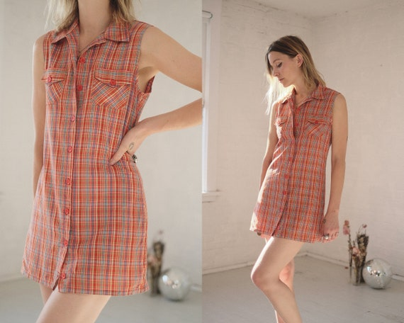 Clementine Plaid Mini // Vintage 1990s Orange Chec