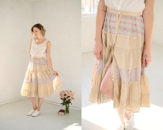 70s Blush Quilt Skirt