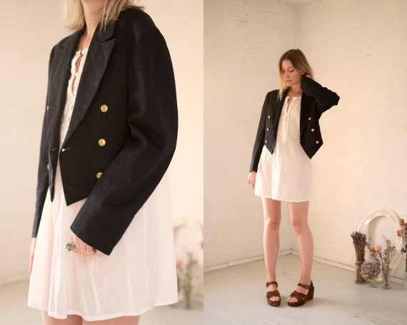 40s Crop Navy Coat  - image 2
