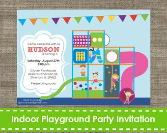 Indoor Playground Invitation- Inflatable - Bouncy - Printable - DIY
