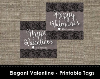 Elegant Valentine - Printable Tags - Cupcake Toppers - Labels