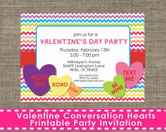 Valentine Conversation Hearts Party Invitation - Printable - DIY
