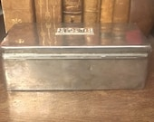 Sterling Box - Wood - Sterling Silver - 10K Gold Monogram - Jewelry Box - Valet - Watch Box - Keepsake - Vintage - RS1