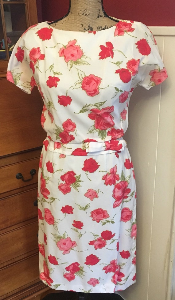 Fifties Dress - Mid Century - Floral - Pink - Gree