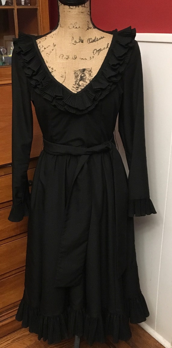 Black Evening Dress - Victor Costa - Eighties - Ru