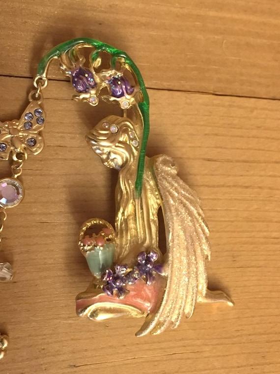 Butterfly Fairy Rare Basket Kirks Folly Brooch Vintage Bluebell Fairy Flowers