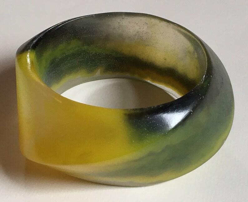 Vintage Lucite Bangle Bracelets 3 pc Set Transparent Resin Bracelet Yellow