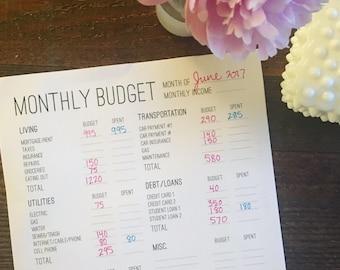 printable monthly budget worksheet download