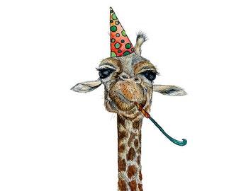 Giraffe Birthday Card * Cute Animal Card * Birthday // Happy Birthday // Cute Giraffe // Giraffe lover // Bday card // cute giraffe