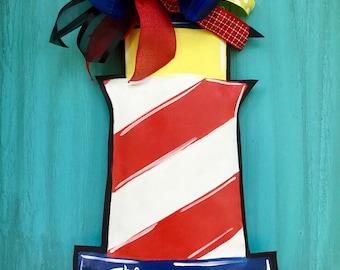 Lighthouse Door Hanger Wreath Coastal Beach Nautical